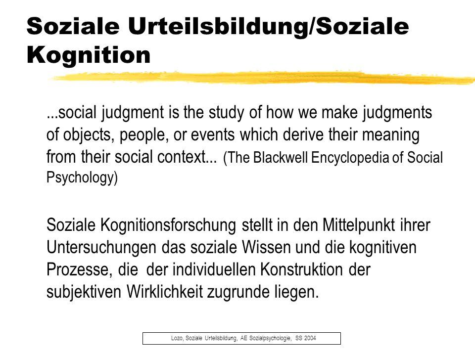 Soziale Urteilsbildung/Soziale Kognition