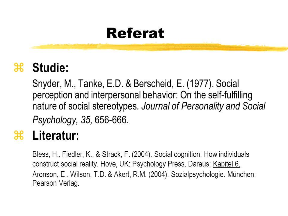 Referat Studie: Literatur: