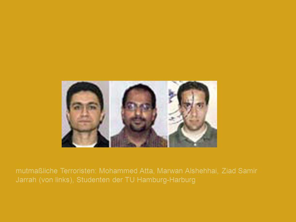 mutmaßliche Terroristen: Mohammed Atta, Marwan Alshehhai, Ziad Samir Jarrah (von links), Studenten der TU Hamburg-Harburg