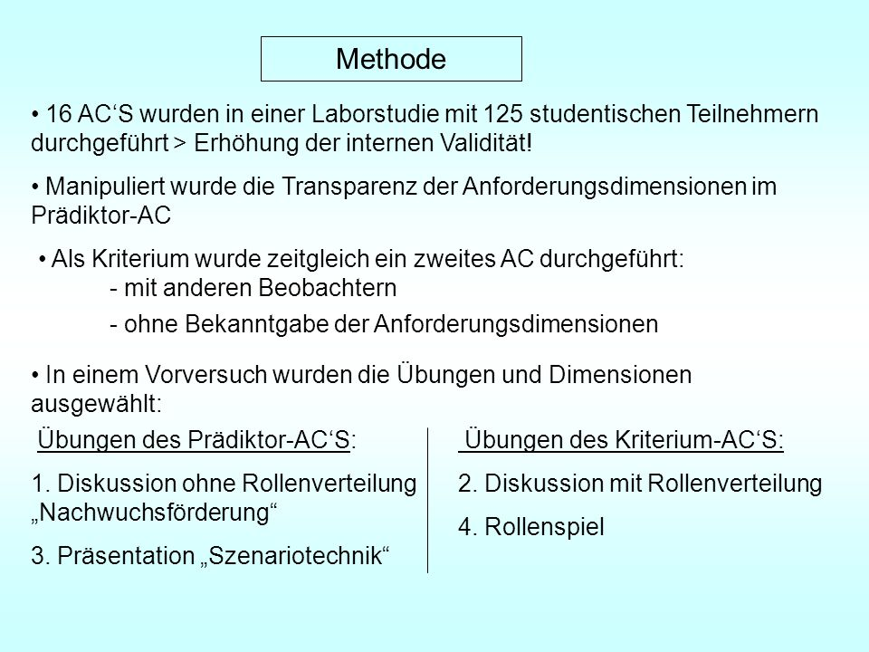 Methode 16 AC'S wurden in einer Laborstudie mit 125 studentischen Teilnehmern durchgeführt > Erhöhung der internen Validität!