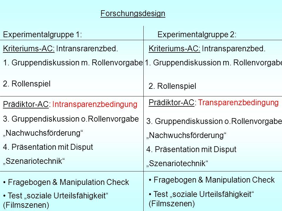 Forschungsdesign Experimentalgruppe 1: Experimentalgruppe 2: Kriteriums-AC: Intransrarenzbed. Prädiktor-AC: Intransparenzbedingung.