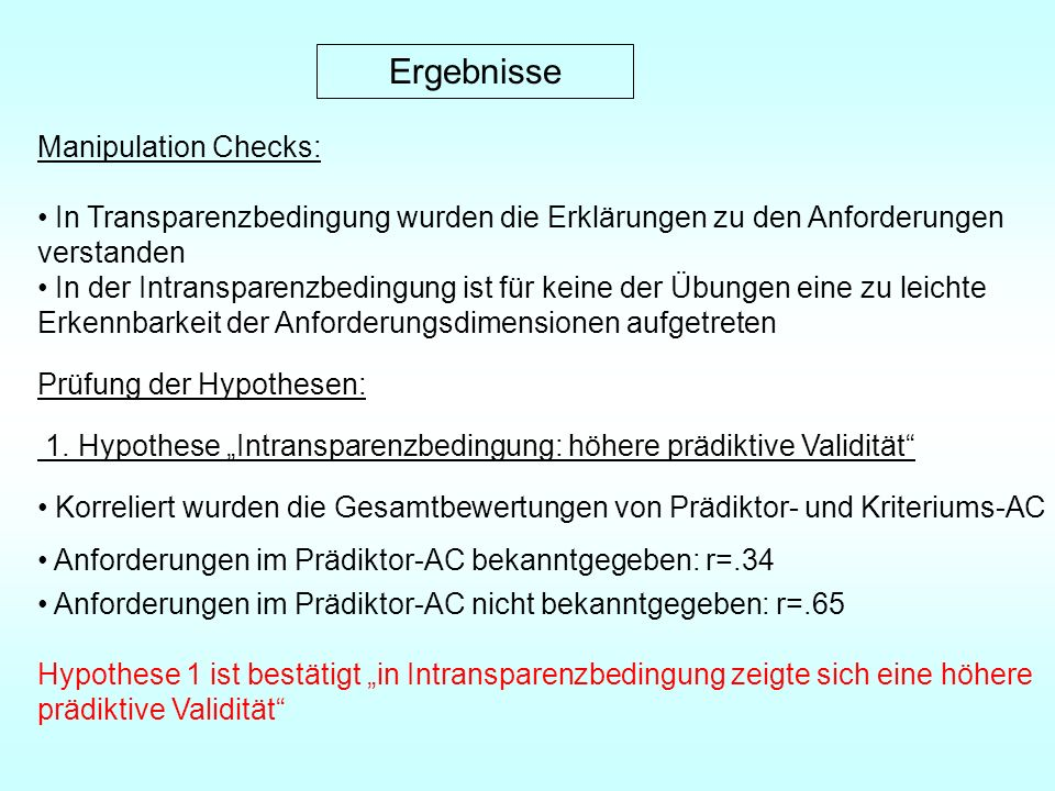 Ergebnisse Manipulation Checks: