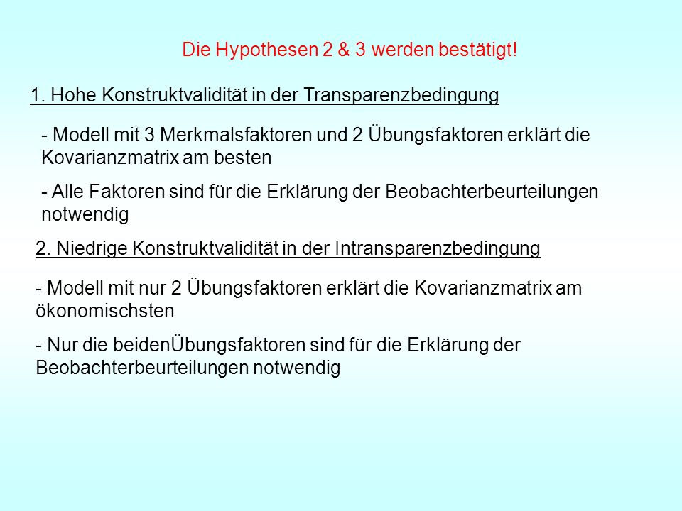 Die Hypothesen 2 & 3 werden bestätigt!