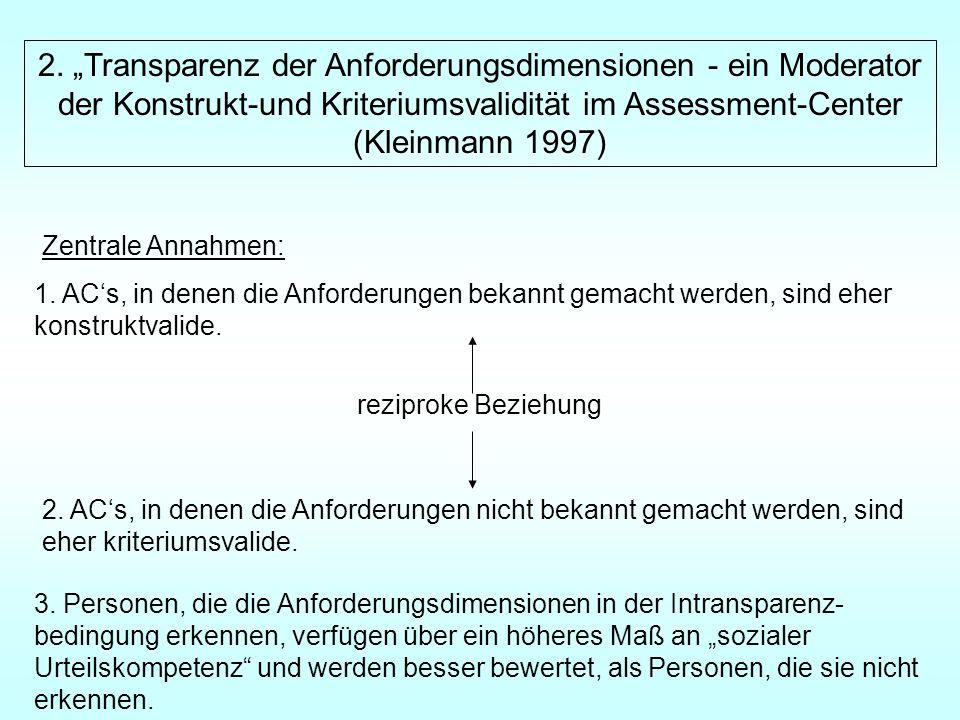 """2. """"Transparenz der Anforderungsdimensionen - ein Moderator"""