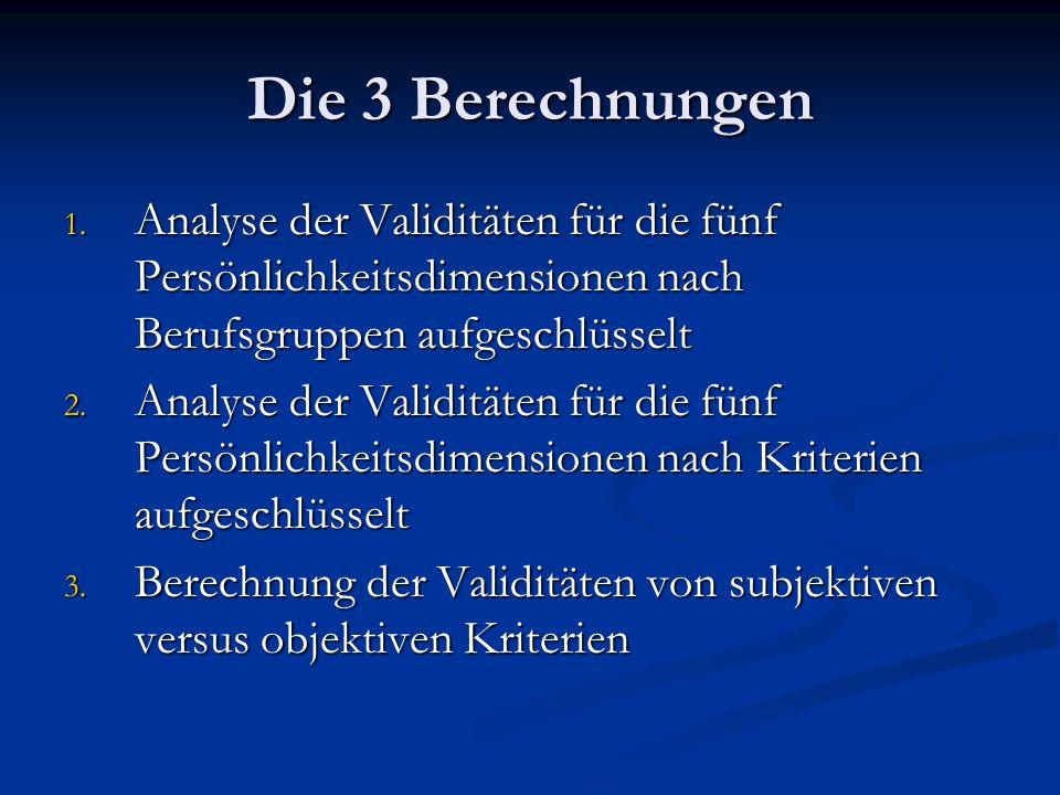 Die 3 Berechnungen Analyse der Validitäten für die fünf Persönlichkeitsdimensionen nach Berufsgruppen aufgeschlüsselt.