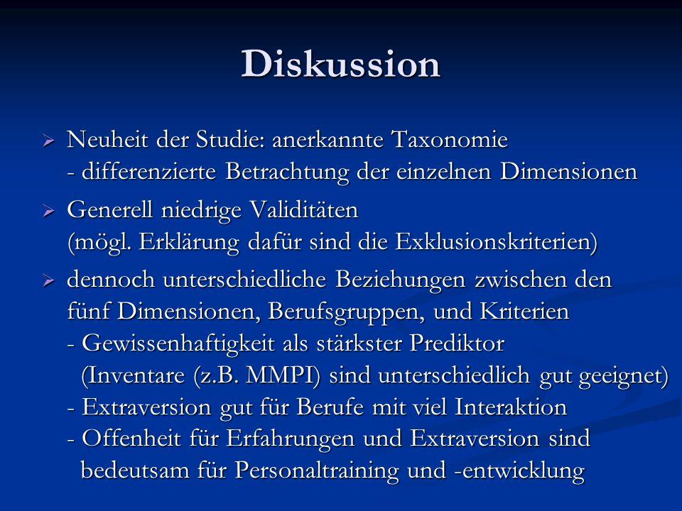 DiskussionNeuheit der Studie: anerkannte Taxonomie - differenzierte Betrachtung der einzelnen Dimensionen.