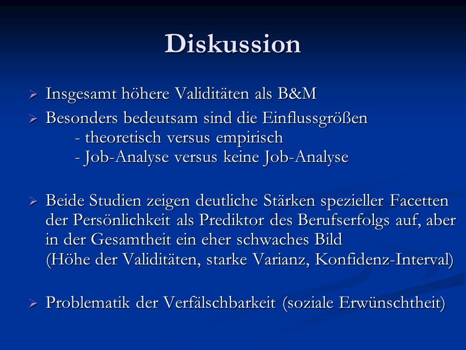 Diskussion Insgesamt höhere Validitäten als B&M