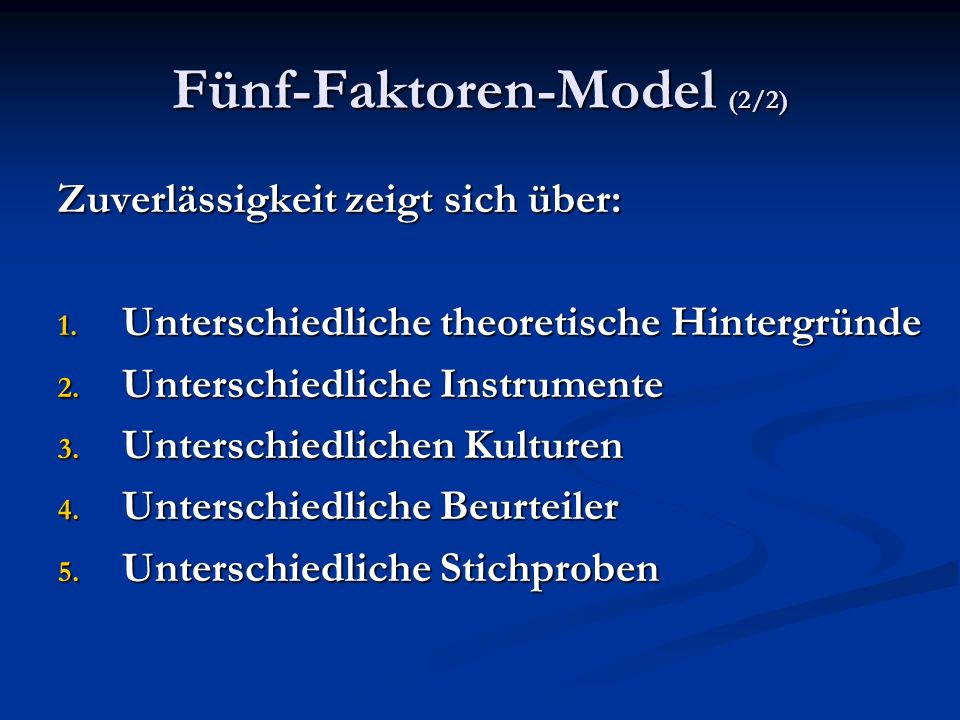 Fünf-Faktoren-Model (2/2)