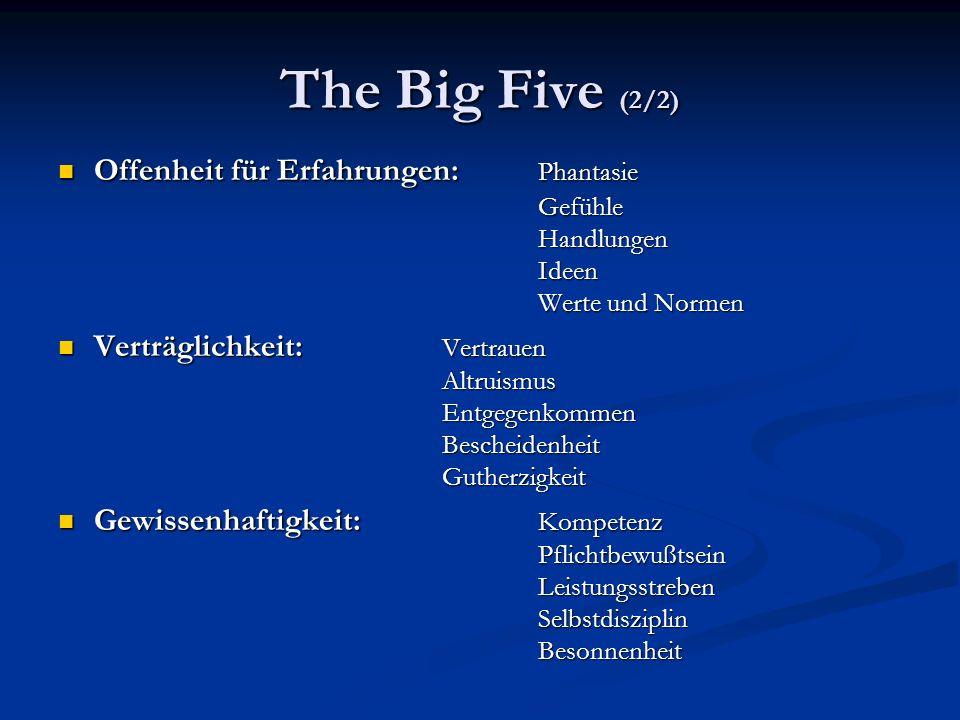 The Big Five (2/2)Offenheit für Erfahrungen: Phantasie Gefühle Handlungen Ideen Werte und Normen.