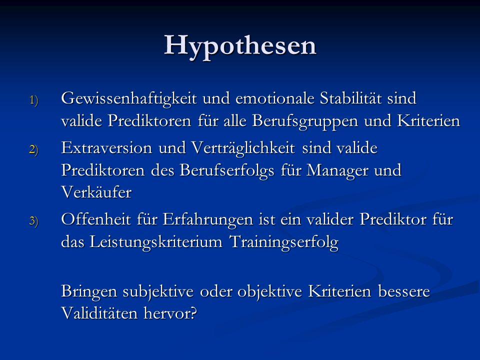 HypothesenGewissenhaftigkeit und emotionale Stabilität sind valide Prediktoren für alle Berufsgruppen und Kriterien.