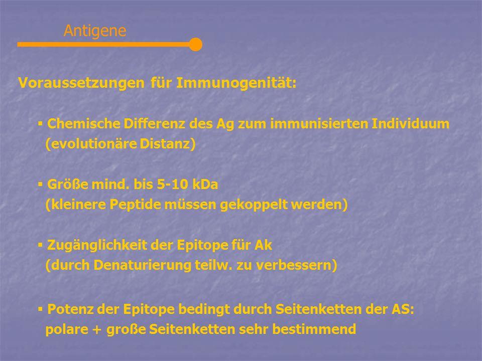 Antigene Voraussetzungen für Immunogenität: