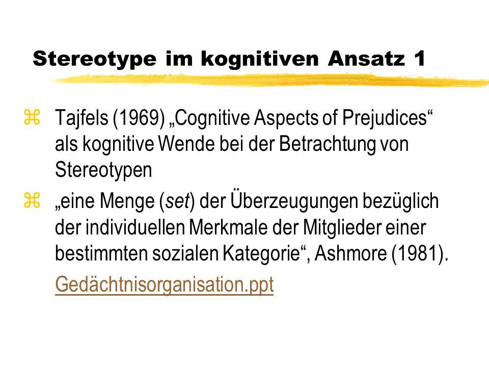 Stereotype im kognitiven Ansatz 1
