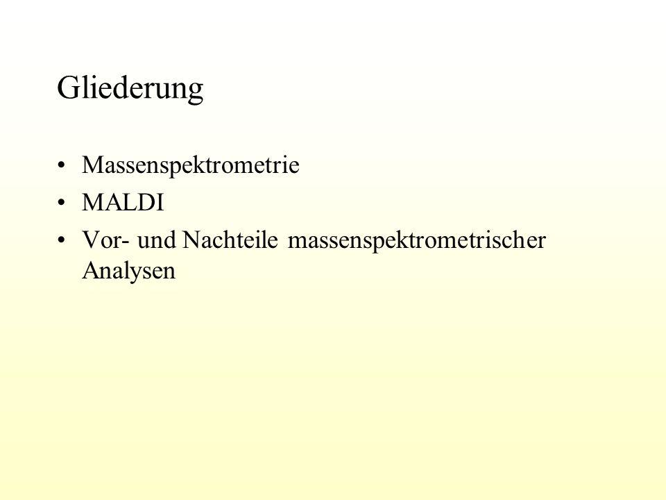 Gliederung Massenspektrometrie MALDI