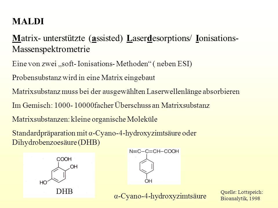 """MALDI Matrix- unterstützte (assisted) Laserdesorptions/ Ionisations- Massenspektrometrie. Eine von zwei """"soft- Ionisations- Methoden ( neben ESI)"""