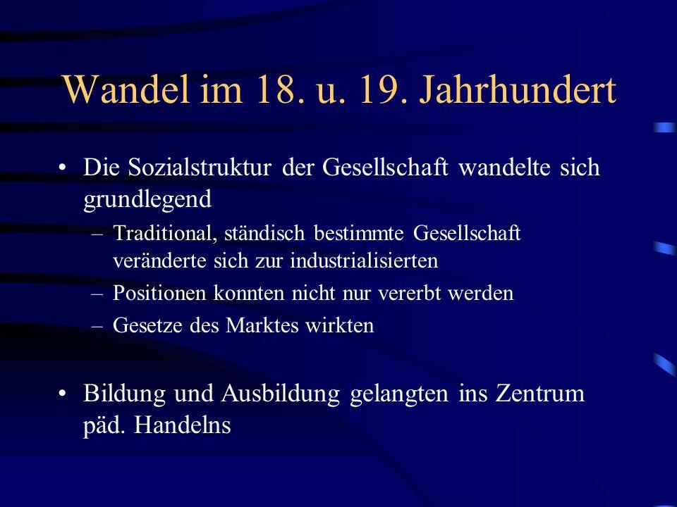 Wandel im 18. u. 19. Jahrhundert