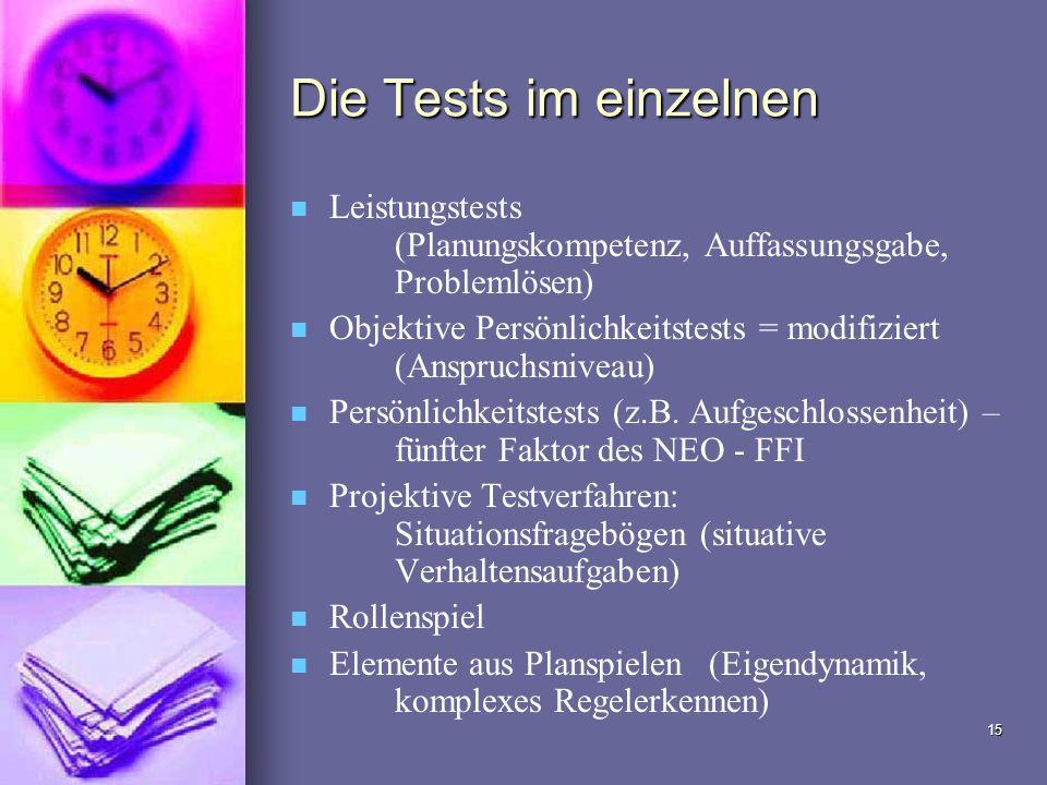 Die Tests im einzelnen Leistungstests (Planungskompetenz, Auffassungsgabe, Problemlösen)
