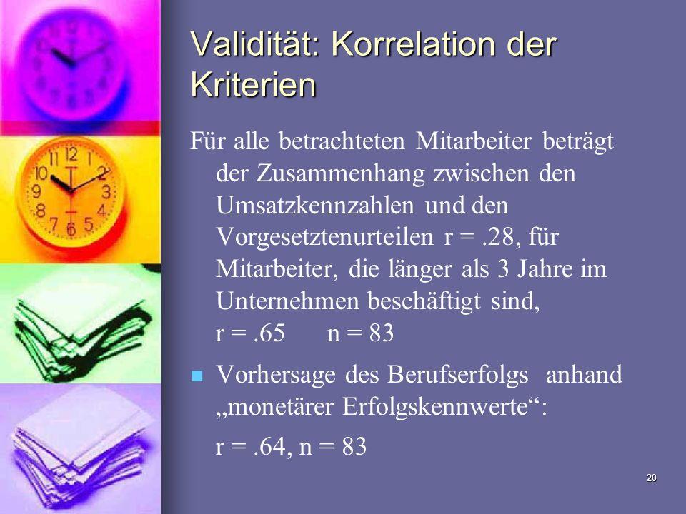 Validität: Korrelation der Kriterien