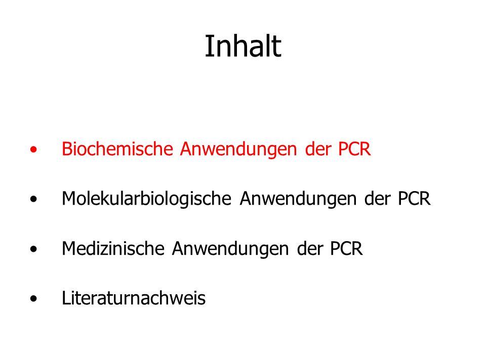 Inhalt Biochemische Anwendungen der PCR