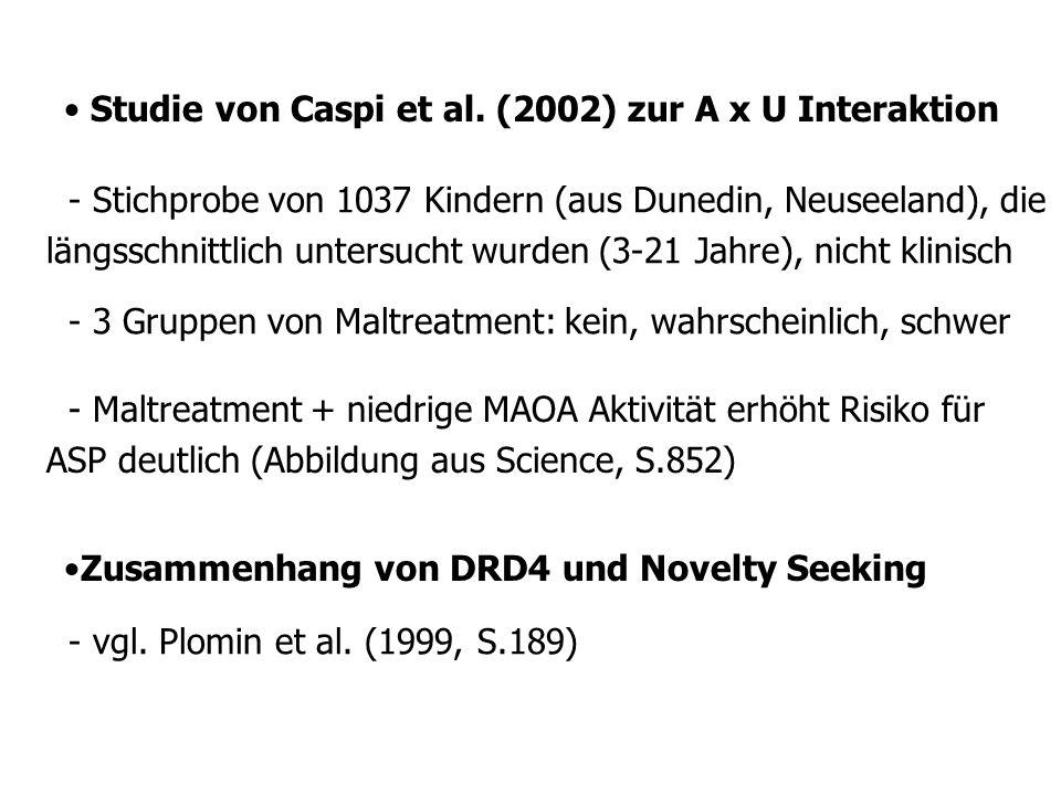 Studie von Caspi et al. (2002) zur A x U Interaktion