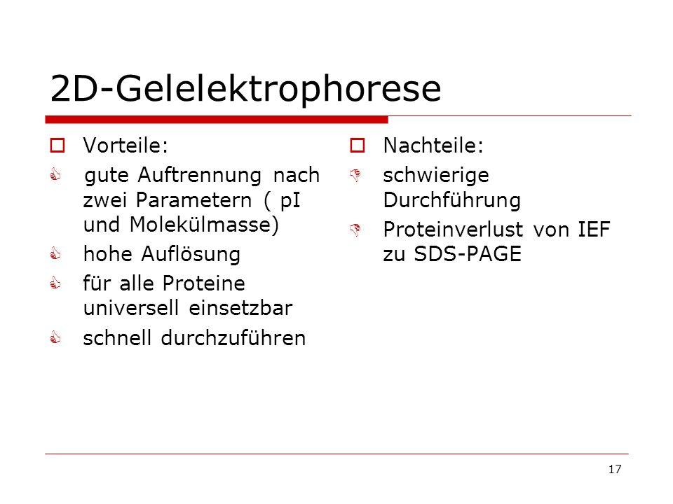 2D-Gelelektrophorese Vorteile: