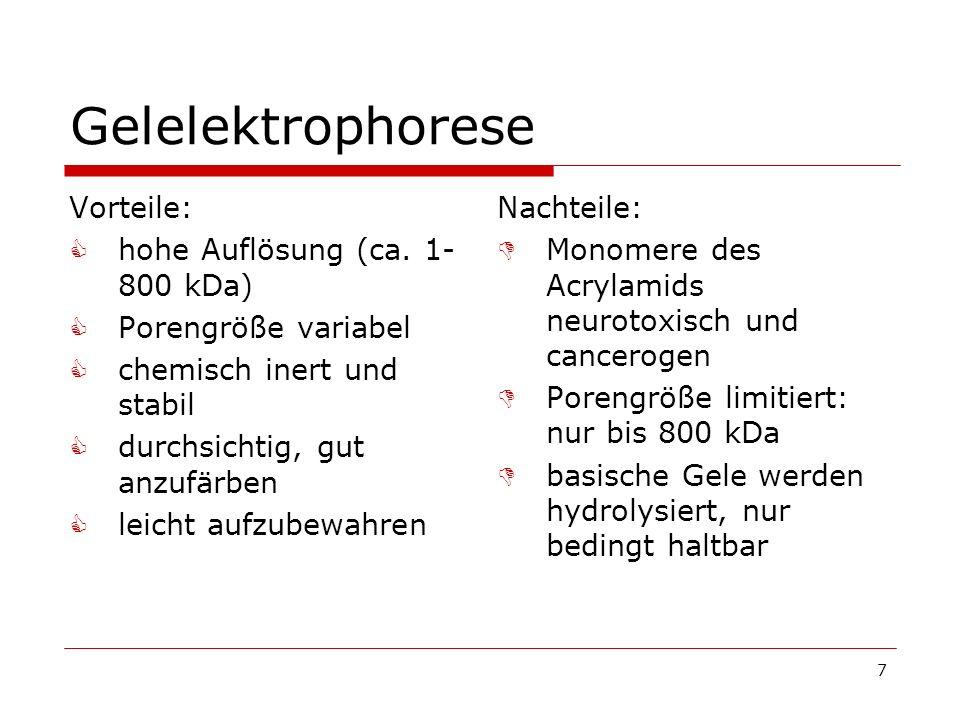 Gelelektrophorese Vorteile: hohe Auflösung (ca. 1-800 kDa)