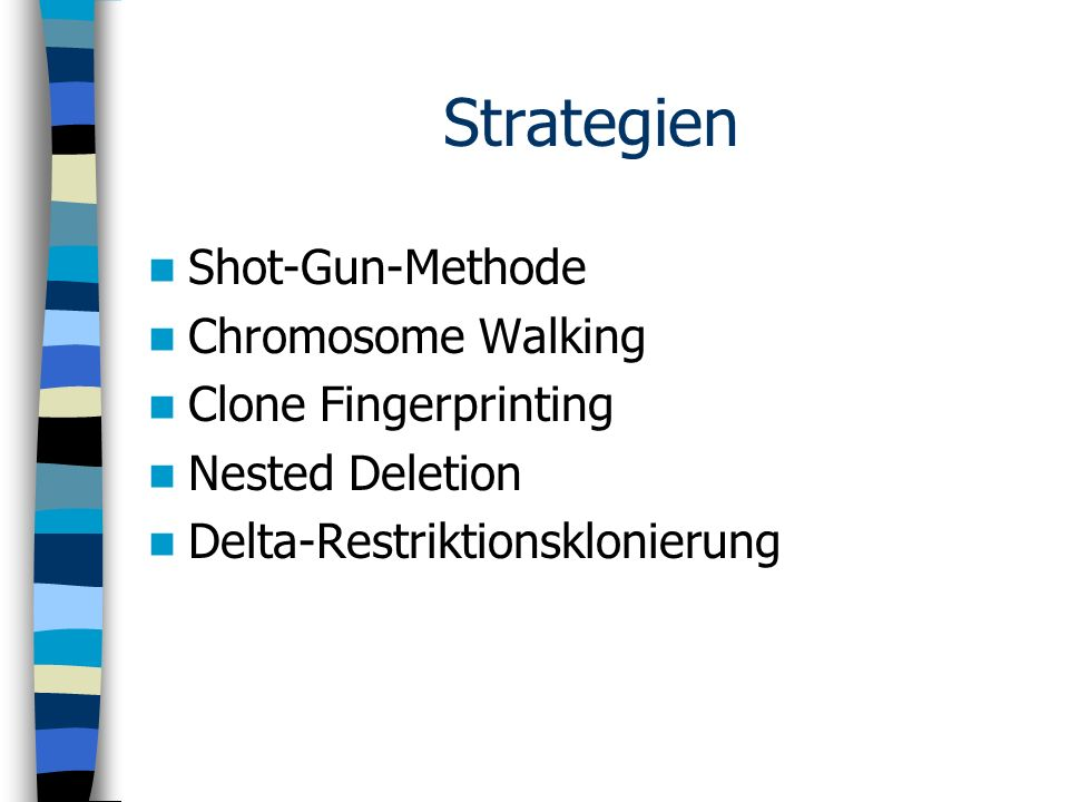 Strategien Shot-Gun-Methode Chromosome Walking Clone Fingerprinting