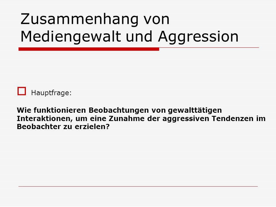 Zusammenhang von Mediengewalt und Aggression
