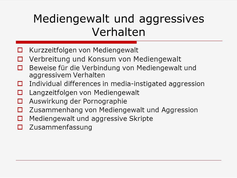 Mediengewalt und aggressives Verhalten
