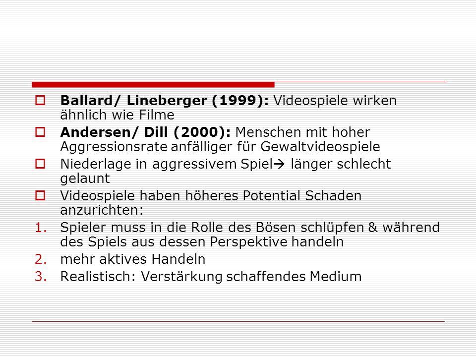 Ballard/ Lineberger (1999): Videospiele wirken ähnlich wie Filme