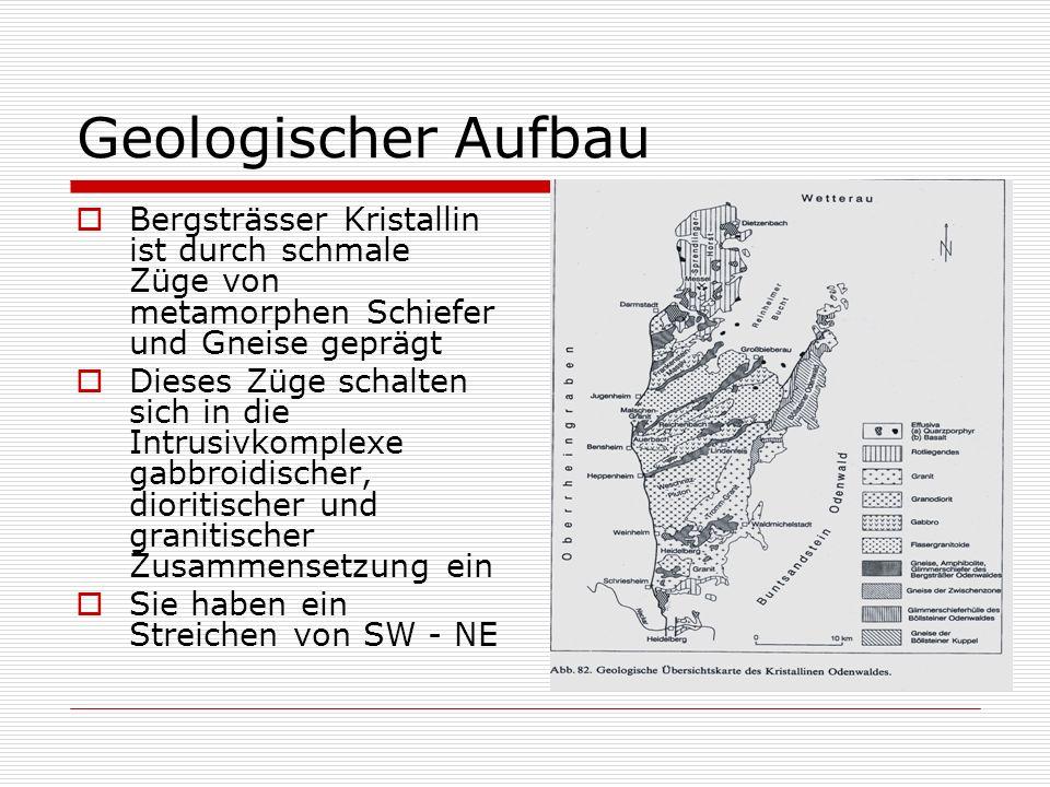Geologischer Aufbau Bergsträsser Kristallin ist durch schmale Züge von metamorphen Schiefer und Gneise geprägt.