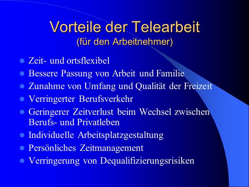 Vorteile der Telearbeit (für den Arbeitnehmer)