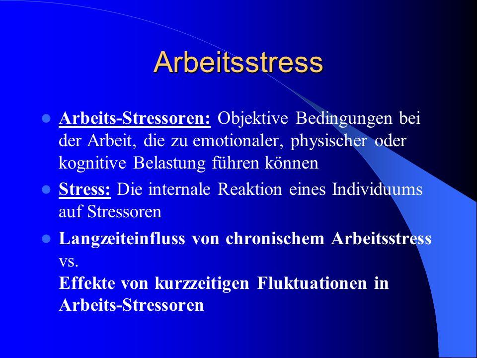 Arbeitsstress Arbeits-Stressoren: Objektive Bedingungen bei der Arbeit, die zu emotionaler, physischer oder kognitive Belastung führen können.