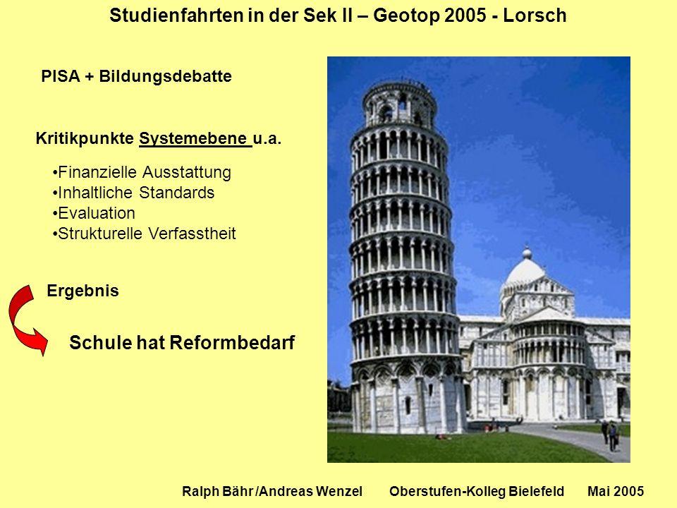Studienfahrten in der Sek II – Geotop 2005 - Lorsch