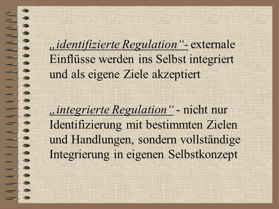 """""""identifizierte Regulation - externale Einflüsse werden ins Selbst integriert und als eigene Ziele akzeptiert"""