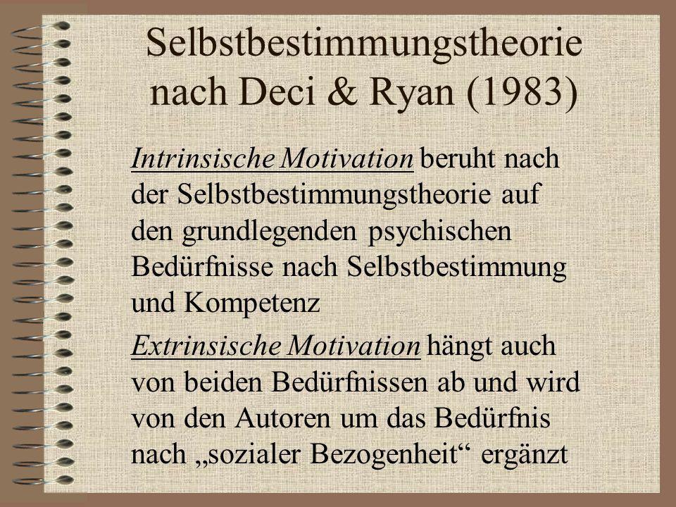 Selbstbestimmungstheorie nach Deci & Ryan (1983)