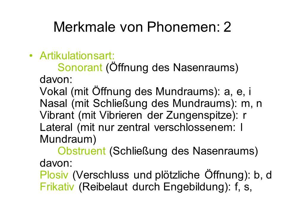 Merkmale von Phonemen: 2