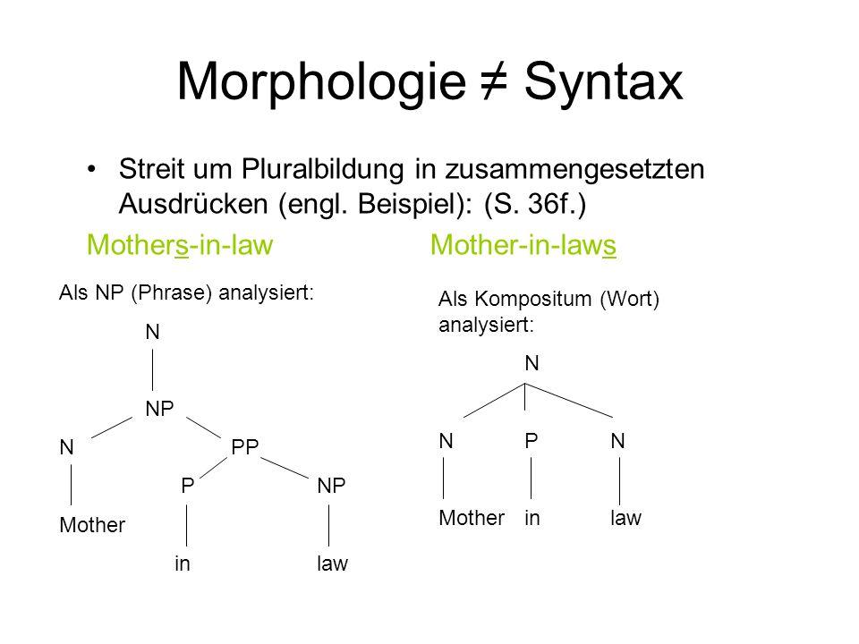 Morphologie ≠ Syntax Streit um Pluralbildung in zusammengesetzten Ausdrücken (engl. Beispiel): (S. 36f.)