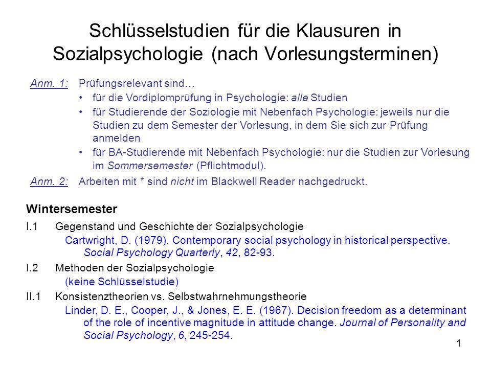 Schlüsselstudien für die Klausuren in Sozialpsychologie (nach Vorlesungsterminen)