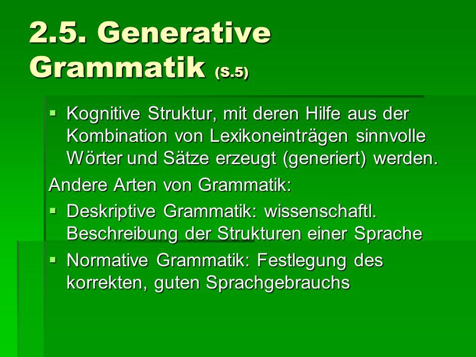 2.5. Generative Grammatik (S.5)
