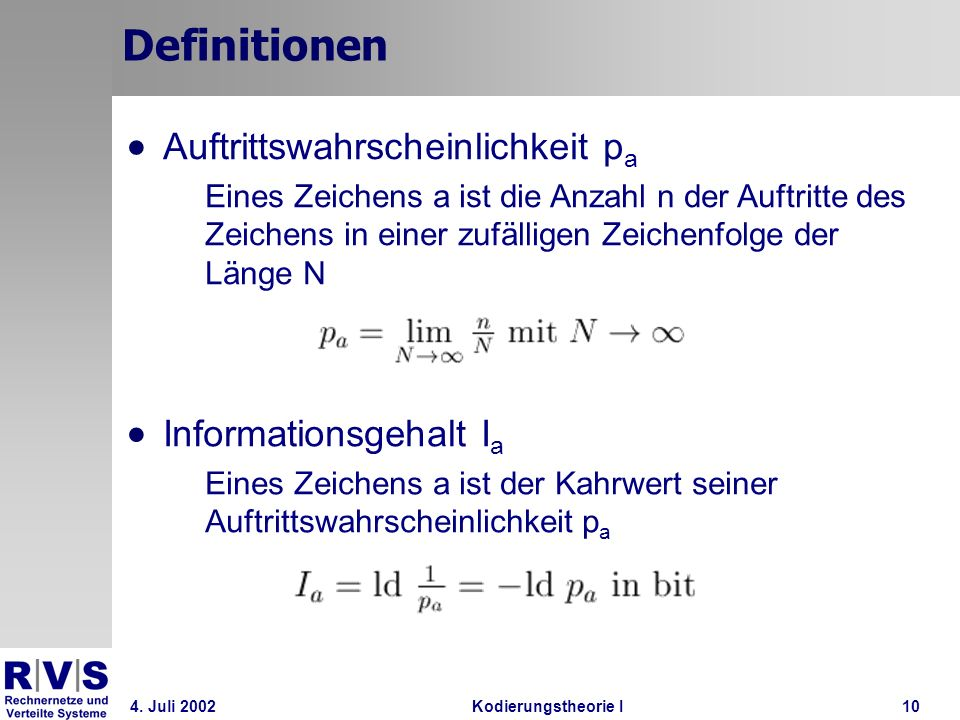 Definitionen Auftrittswahrscheinlichkeit pa Informationsgehalt Ia