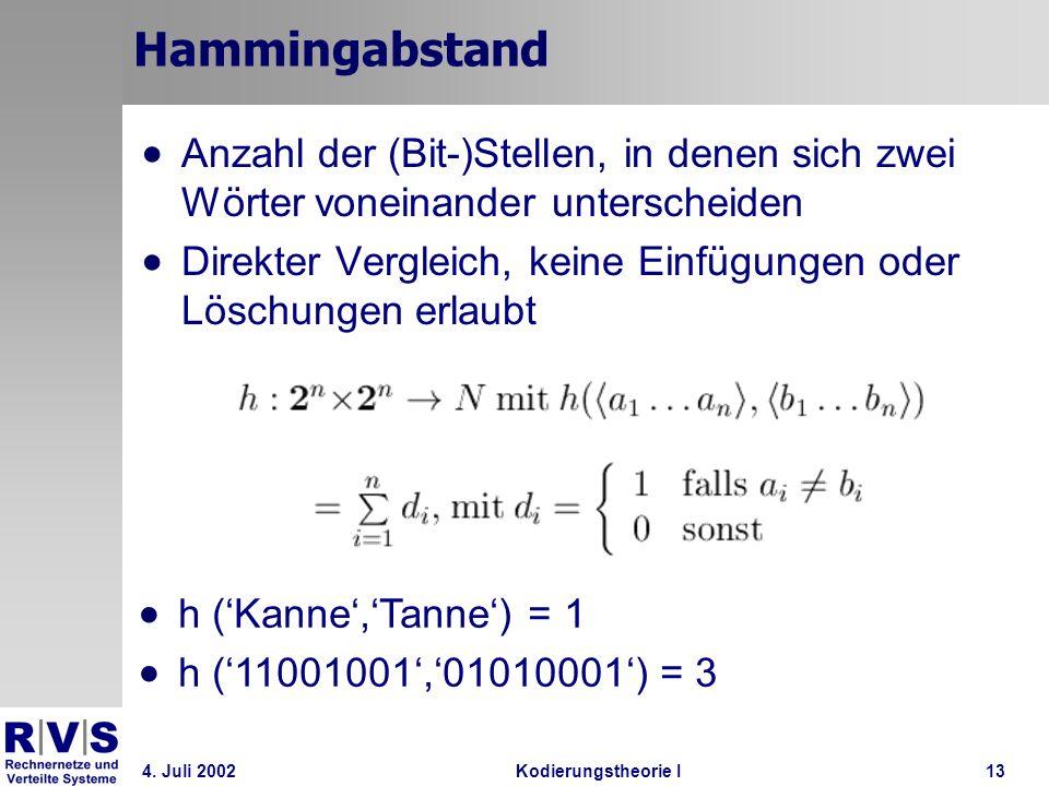 Hammingabstand Anzahl der (Bit-)Stellen, in denen sich zwei Wörter voneinander unterscheiden.