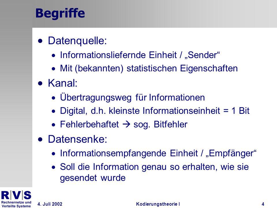 Begriffe Datenquelle: Kanal: Datensenke: