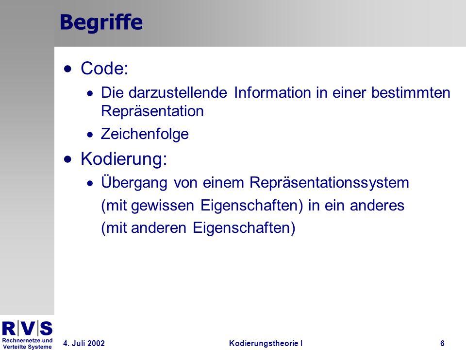 Begriffe Code: Kodierung: