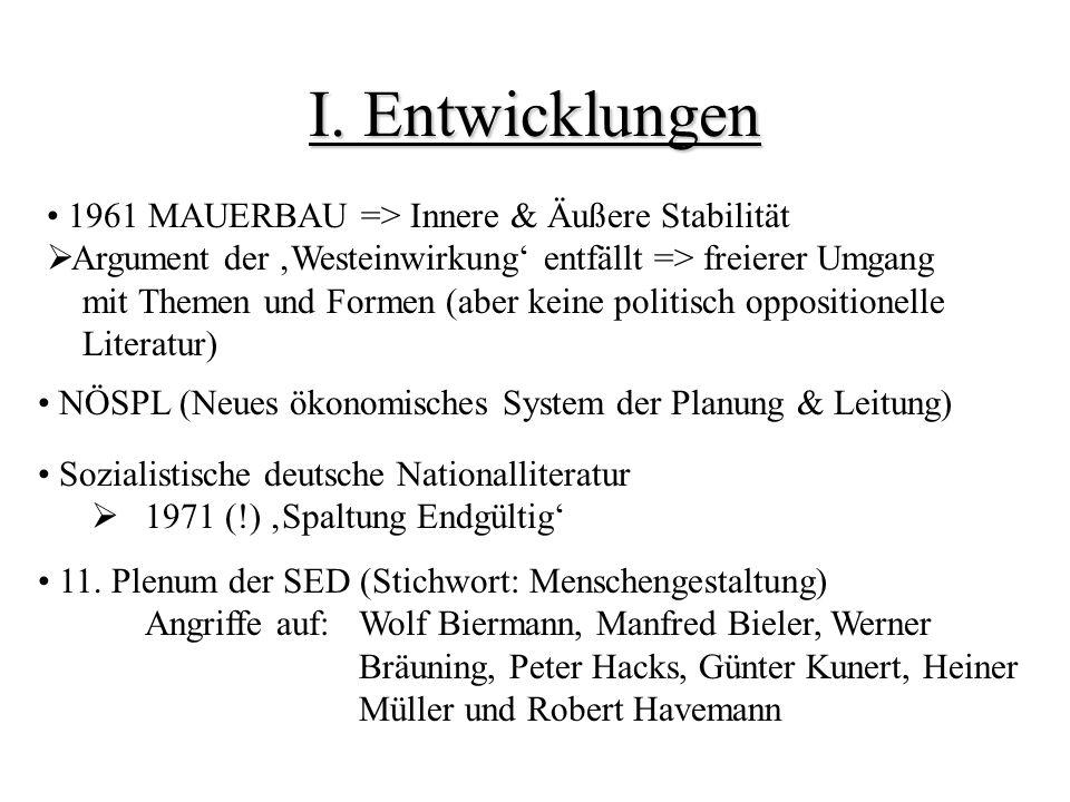 I. Entwicklungen 1961 MAUERBAU => Innere & Äußere Stabilität