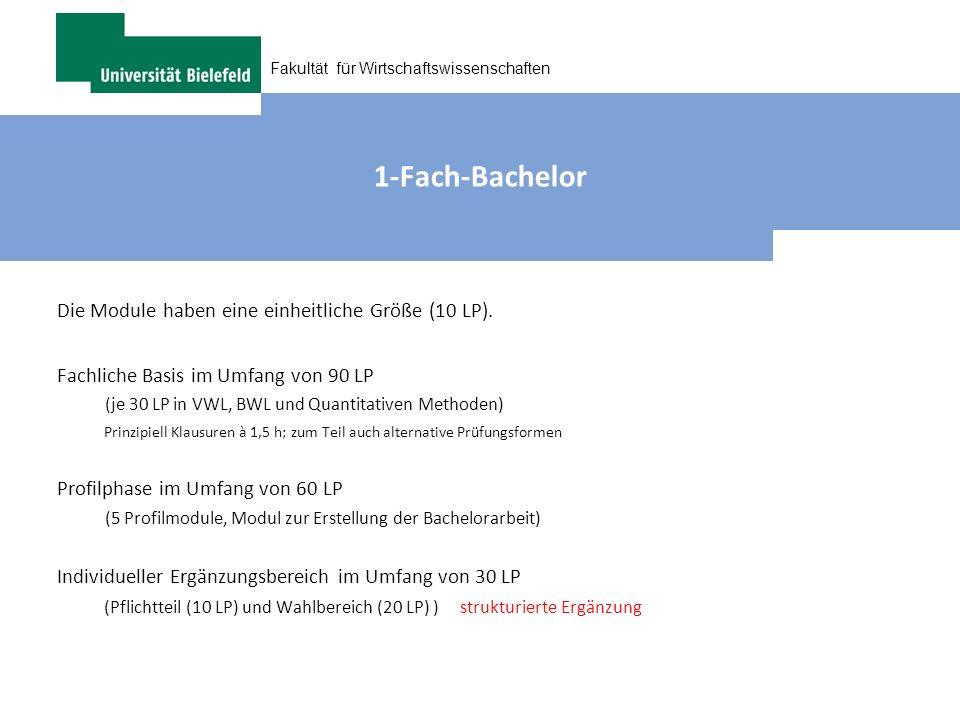 1-Fach-Bachelor Die Module haben eine einheitliche Größe (10 LP).