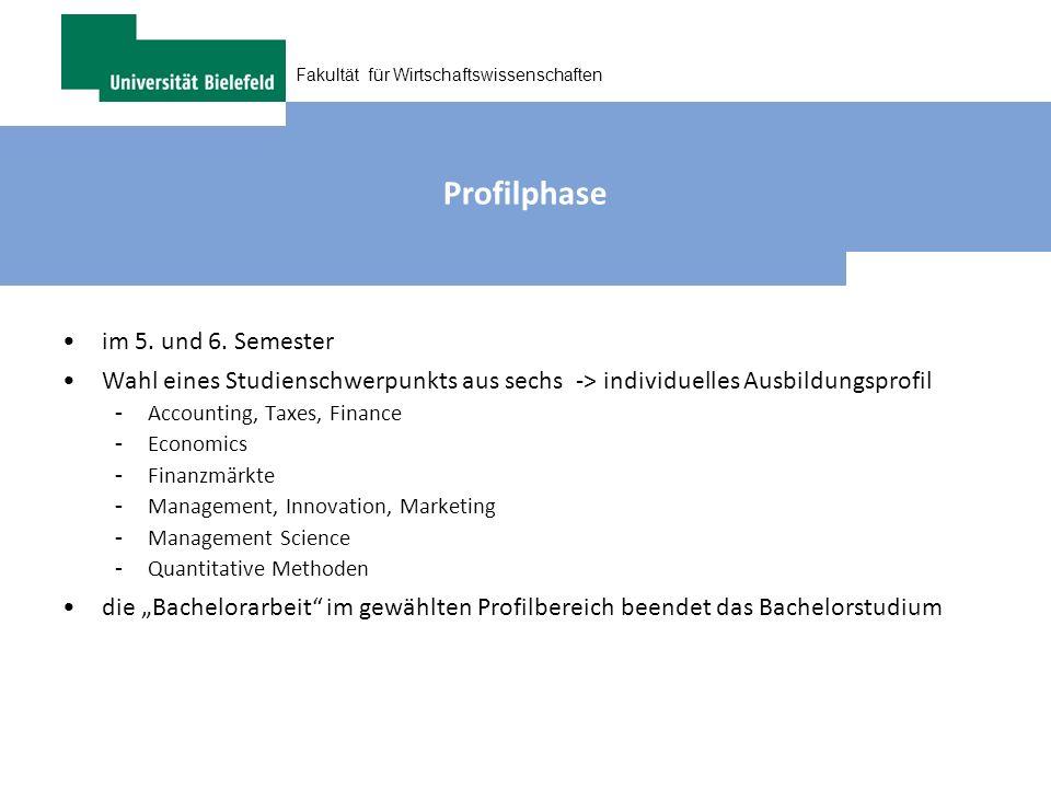 Profilphase im 5. und 6. Semester. Wahl eines Studienschwerpunkts aus sechs -> individuelles Ausbildungsprofil.