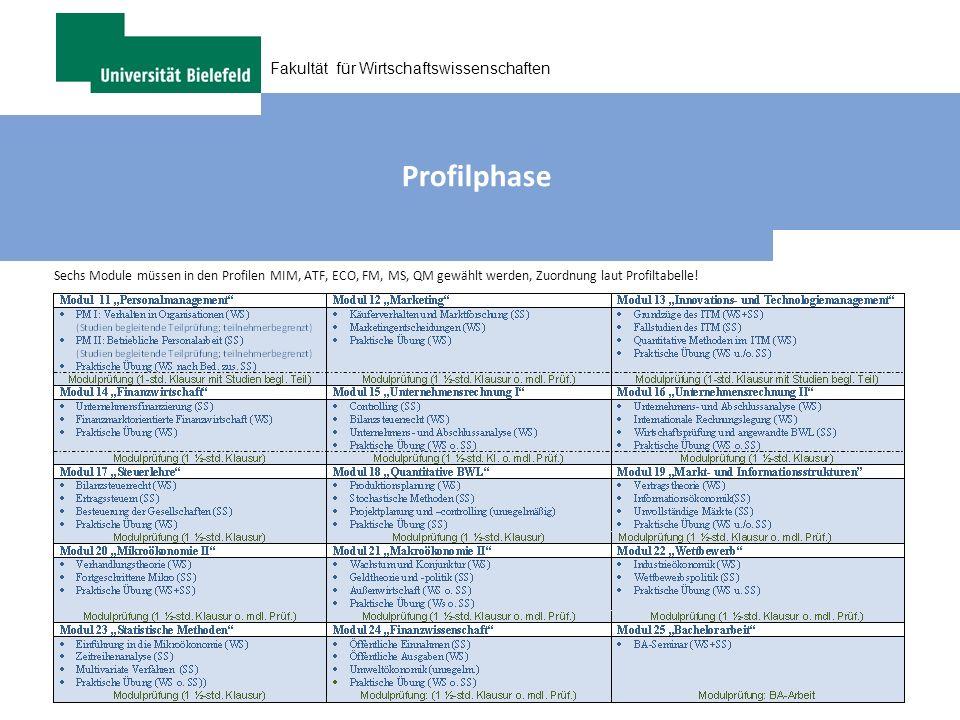 Profilphase Sechs Module müssen in den Profilen MIM, ATF, ECO, FM, MS, QM gewählt werden, Zuordnung laut Profiltabelle!