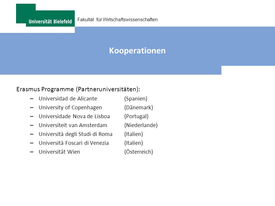 Kooperationen Erasmus Programme (Partneruniversitäten):