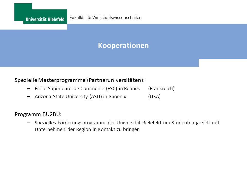 Kooperationen Spezielle Masterprogramme (Partneruniversitäten):