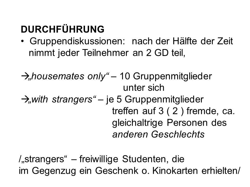 """DURCHFÜHRUNG Gruppendiskussionen: nach der Hälfte der Zeit. nimmt jeder Teilnehmer an 2 GD teil, """"housemates only – 10 Gruppenmitglieder."""